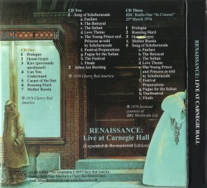 Renaissance - Live At Carnegie Hall (1976) (Expanded, Remastered, 2019) Box Set 3CD